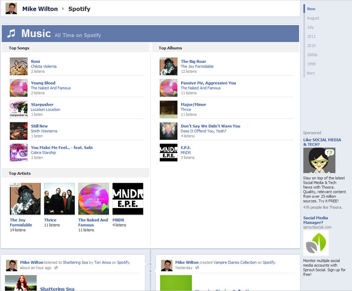 Spotify App on Facebook Timeline