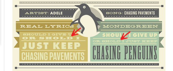 "The Misspelling of the word ""should"" in an Adele lyric on an infographic"