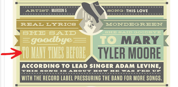 Incorrect use of the word to in a Maroon 5 lyric in an infographic.