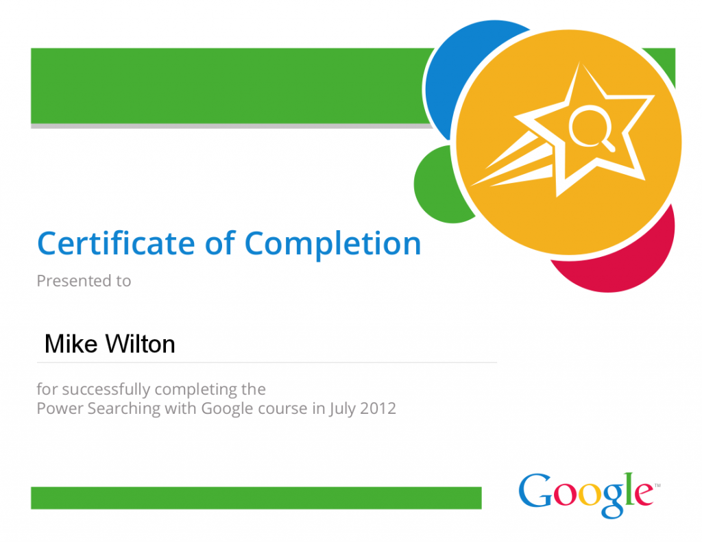 Google Power Searcher Certificate awarded to Mike Wilton