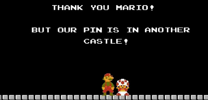 A play off the Super Mario Bros. Princess is in another castle scene