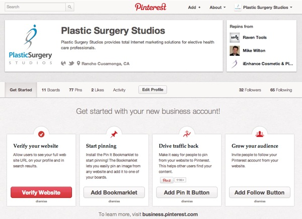 A complete Pinterest business account