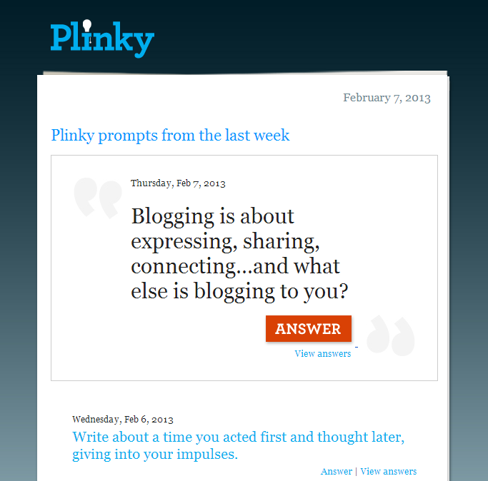 Plinky Prompts Email