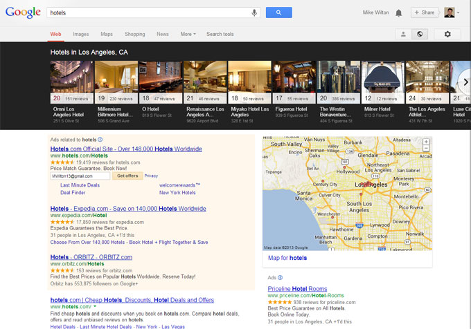 Google Local Carousel results for hotels in Los Angeles