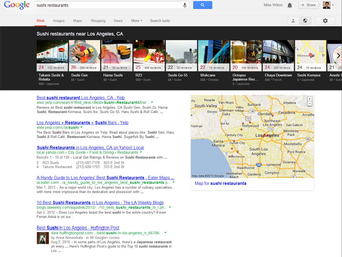 Google Local Carousel results for sushi in Los Angeles