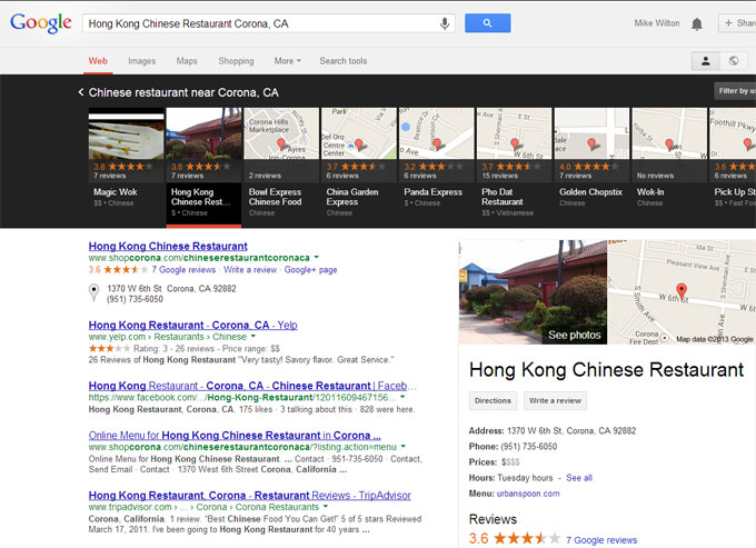 A query for Hong Kong Chinese Restaurant triggered by Google's local carousel
