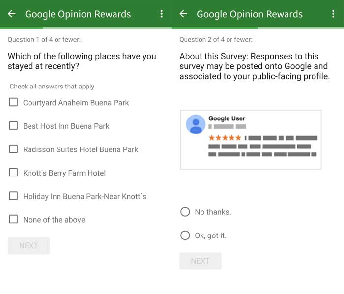 Google Opinion rewards questions 1 and 2