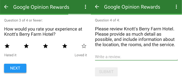 Google Opinion Rewards questions 2 and 3