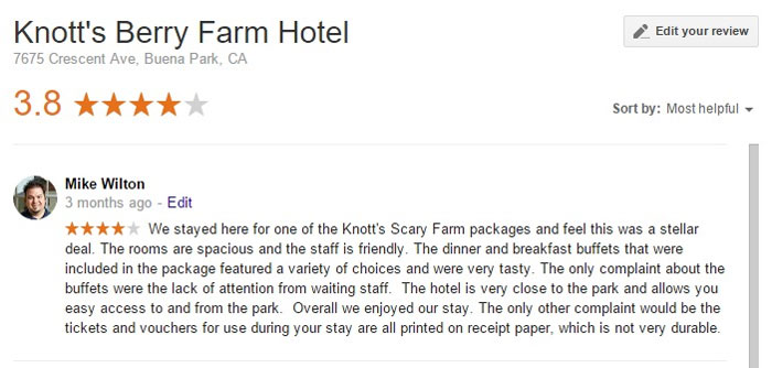 Knott's Berry Farm Hotel Google Review