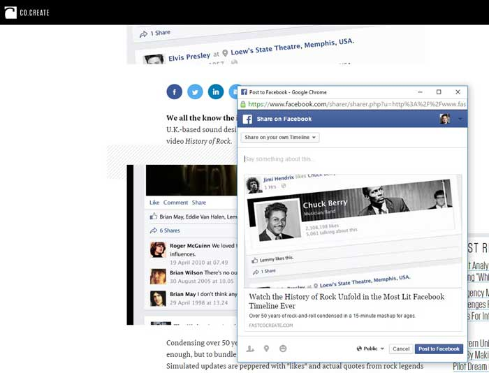 Co.Create's Facebook post after debugging